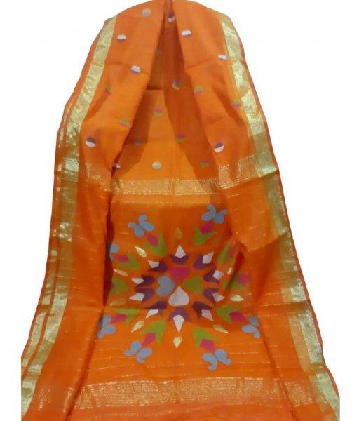 Orange Resham Silk Saree