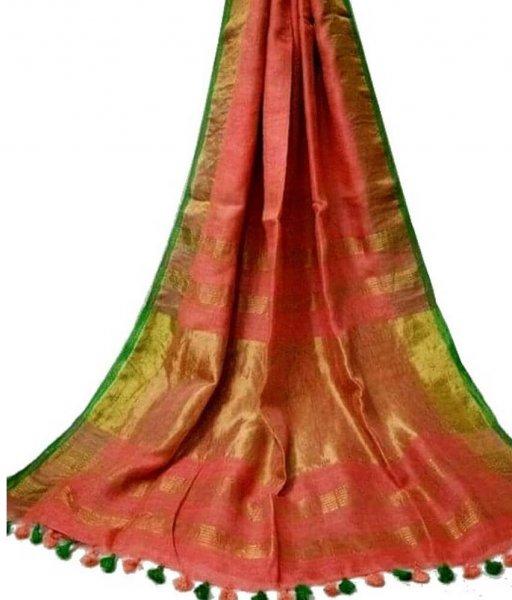 Orange Zari Linen Saree
