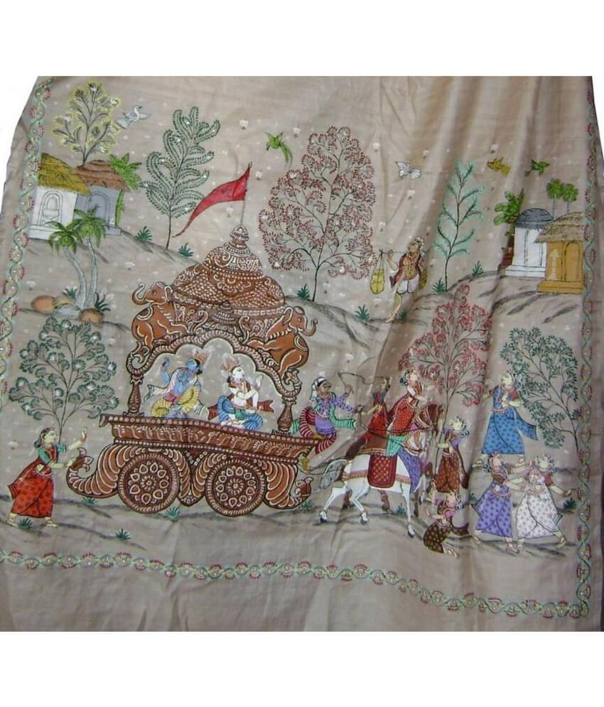 Pattachitra Hand Painted Silk Saree