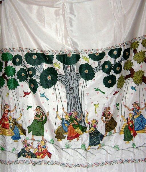 Pattachitra Jhulana Painting On silk Saree