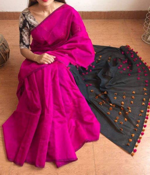 Pink & Black Palu Pum Pum Saree
