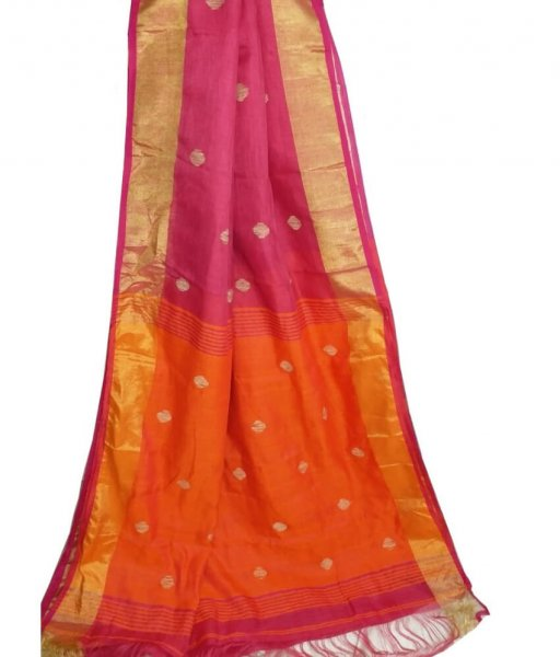 Pink & Orange Buti Ball Linen Saree