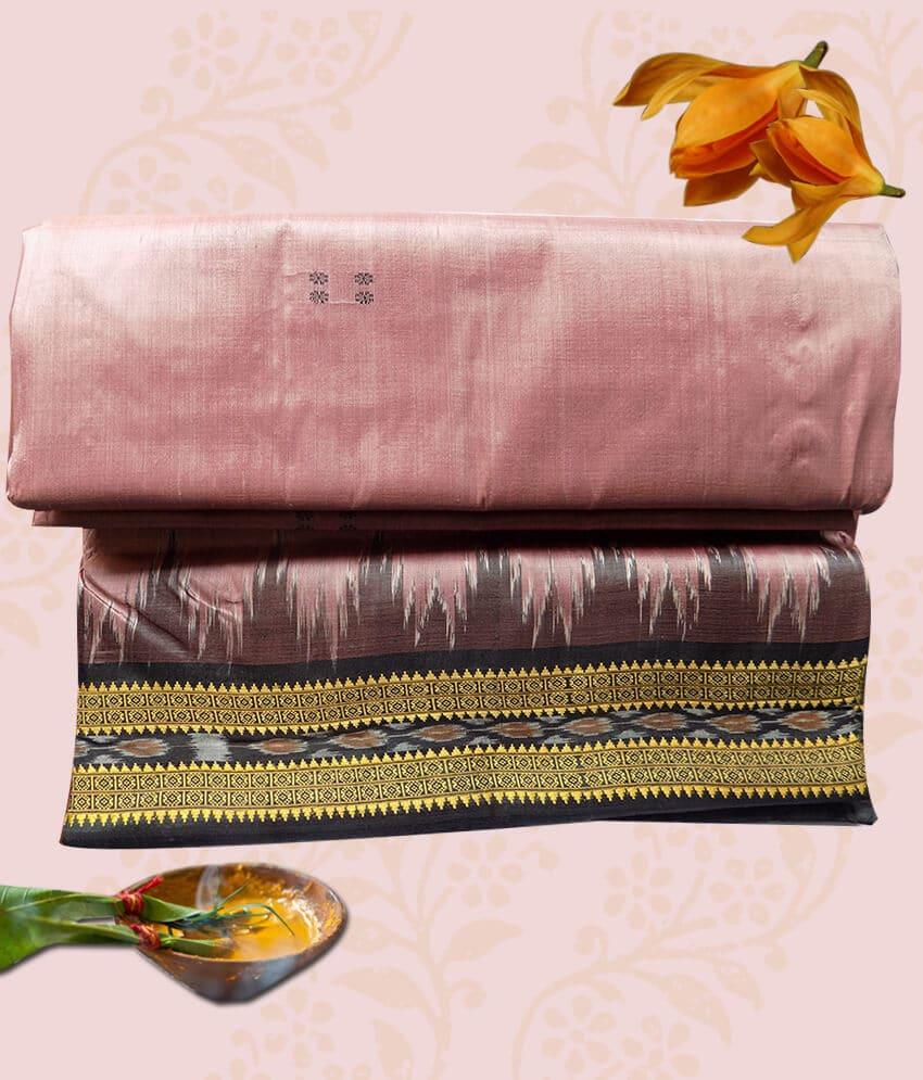 Pink Silk Khandua Patta Saree