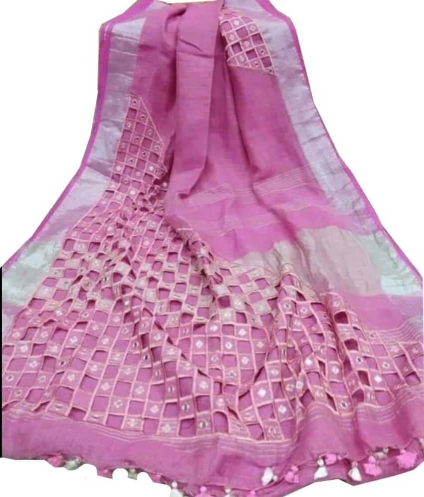 Pink Linen Cut Work Saree