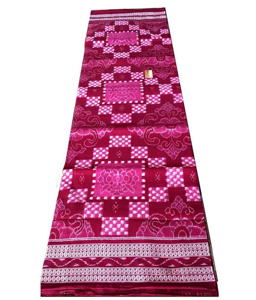 Pink Sambalpuri Pasapali Cotton Saree