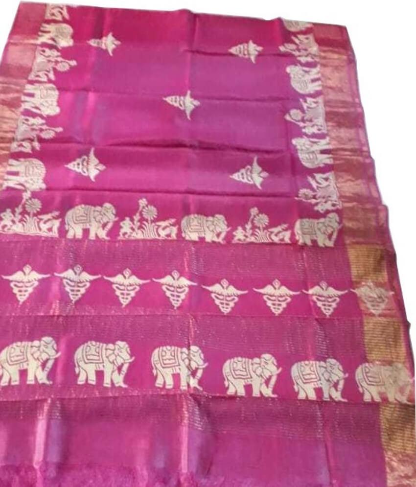 Pink Zari Tussar Silk Saree