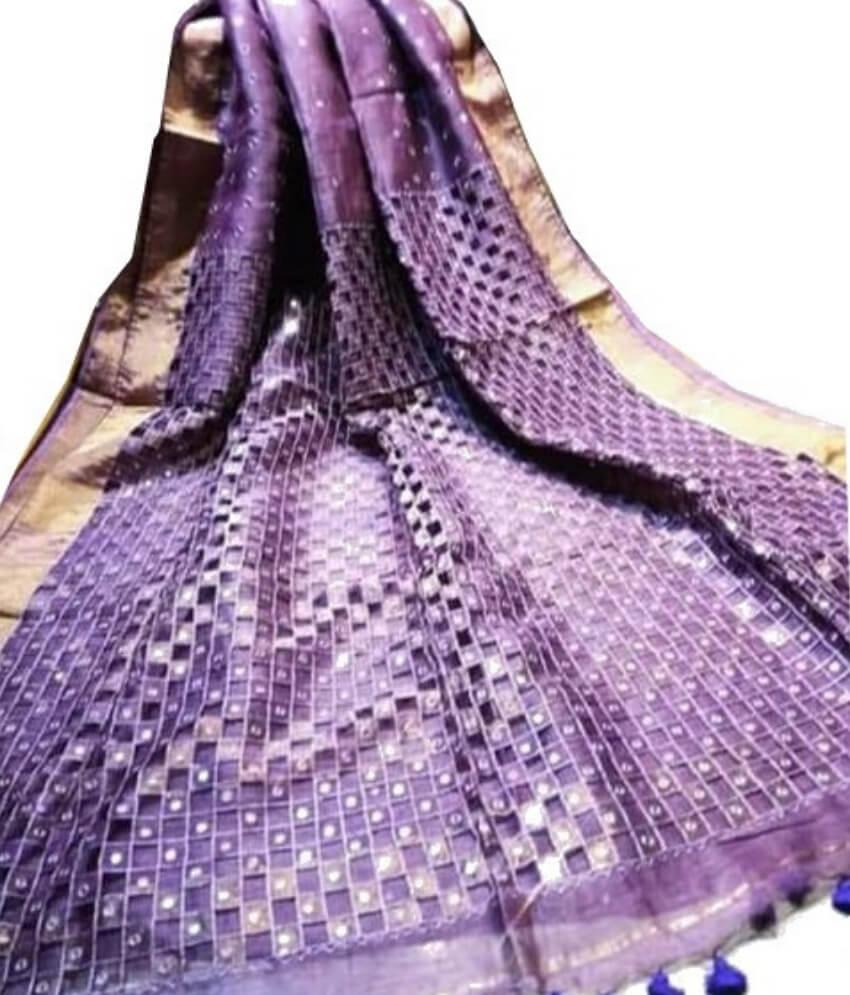Purple Linen Cut Work Saree