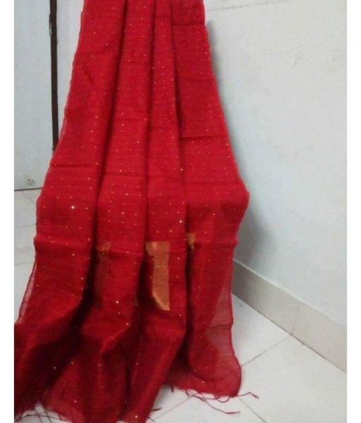 Red Handloom Sequence Saree