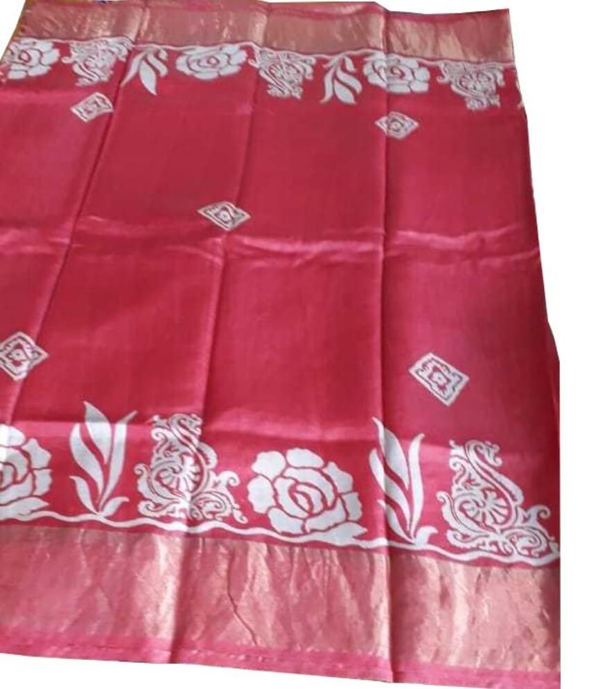 Red Zari Tussar Silk Saree