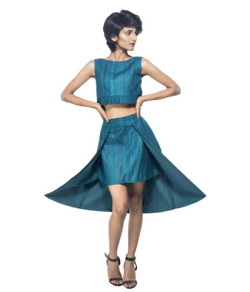 Set Of Ikat Crop Top & Skirt