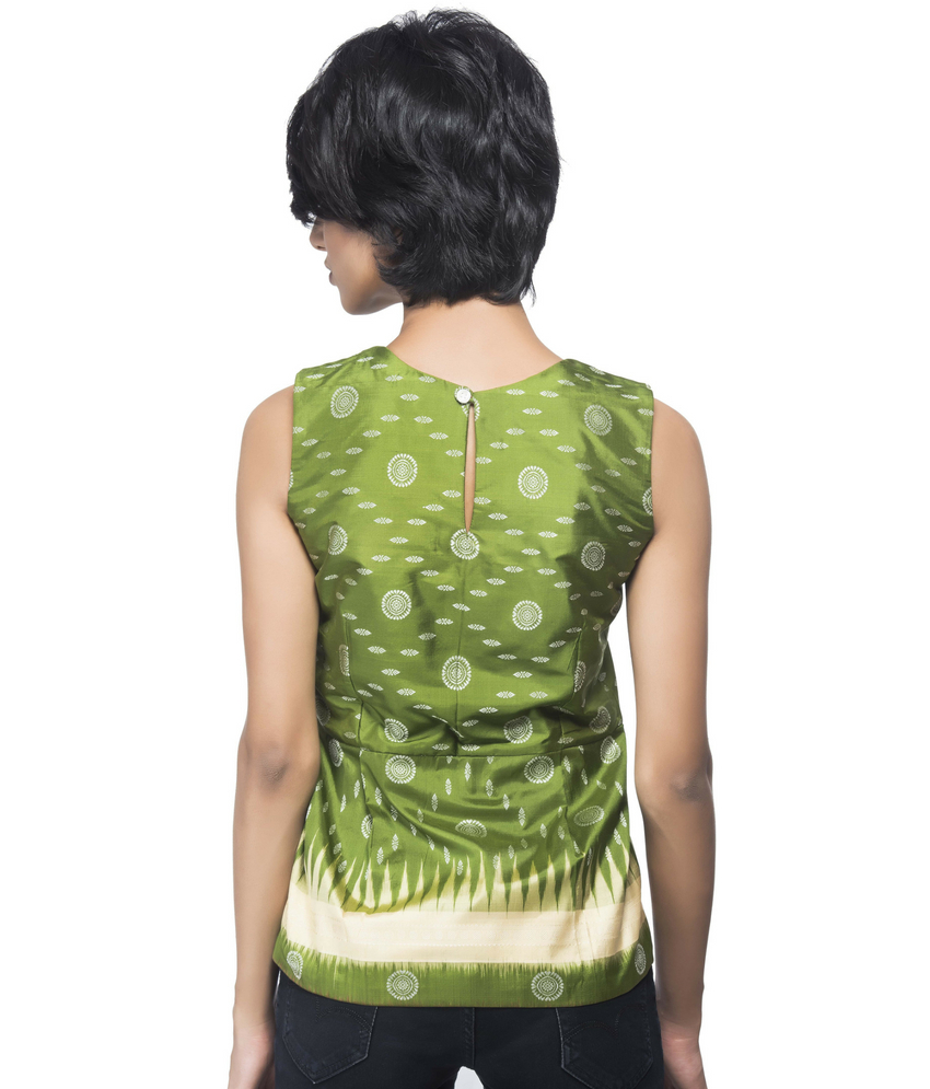 Ikat Sleeveless Top With Pleated Bottom