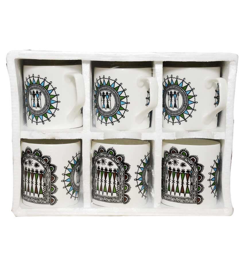 Tribal Art Painting Cup Set