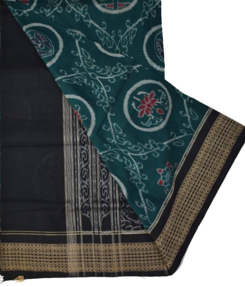 Green Ikat Cotton Saree