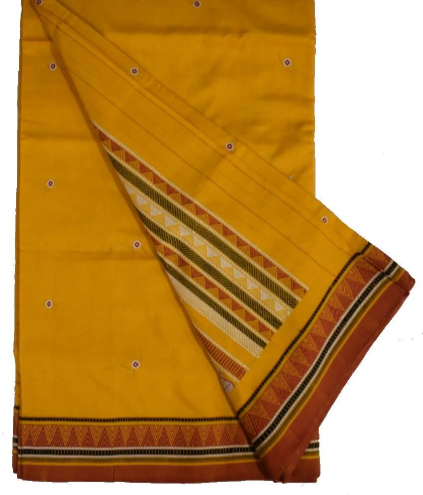Yellow Dongria Cotton Saree