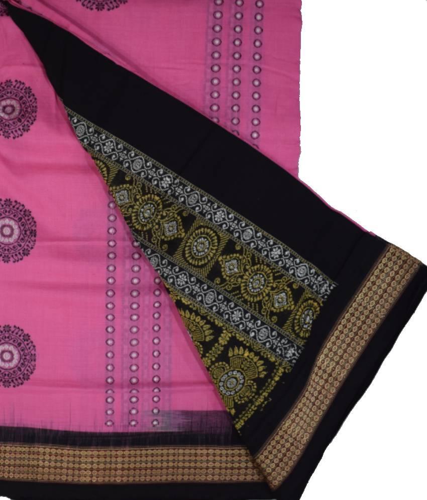 Handwoven Pink Bomkai Cotton Saree