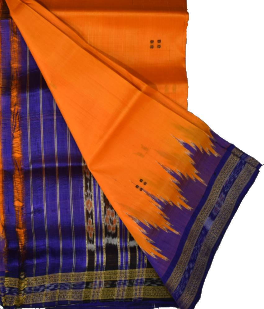 Orange Khandua Silk Blue Kumbha Border Saree