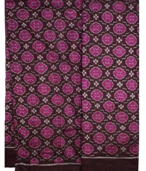 Brown Ikat Silk Fabric