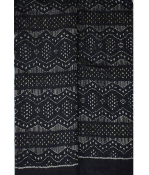 Black Ikat Silk Fabric