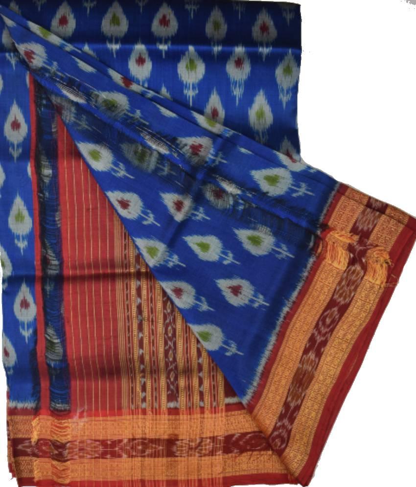 Blue Khandua Silk Saree
