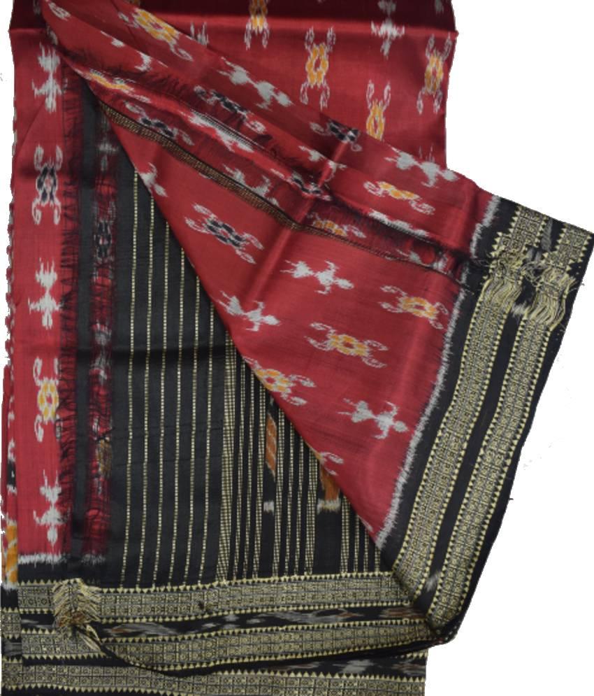 Maroon Khandua Silk Saree