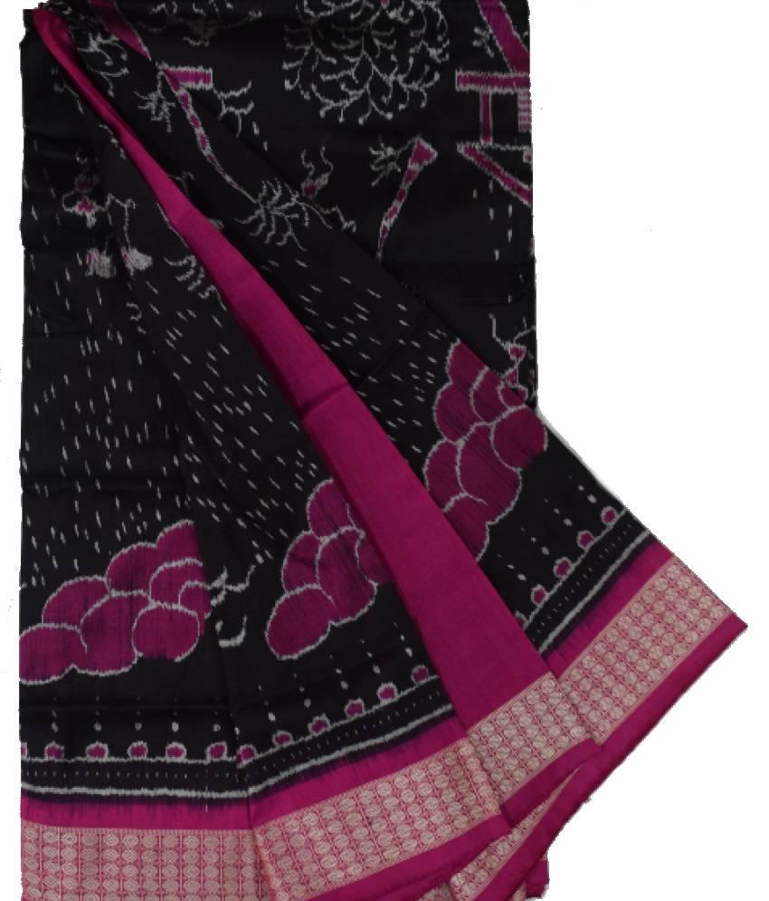 Black & Pink Tribal Design Sambalpuri Silk Saree