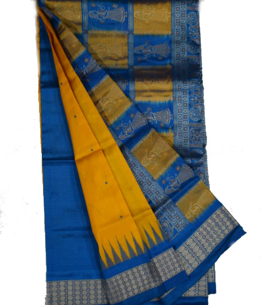 Yellow & Sky Bomkai Patli Silk Saree