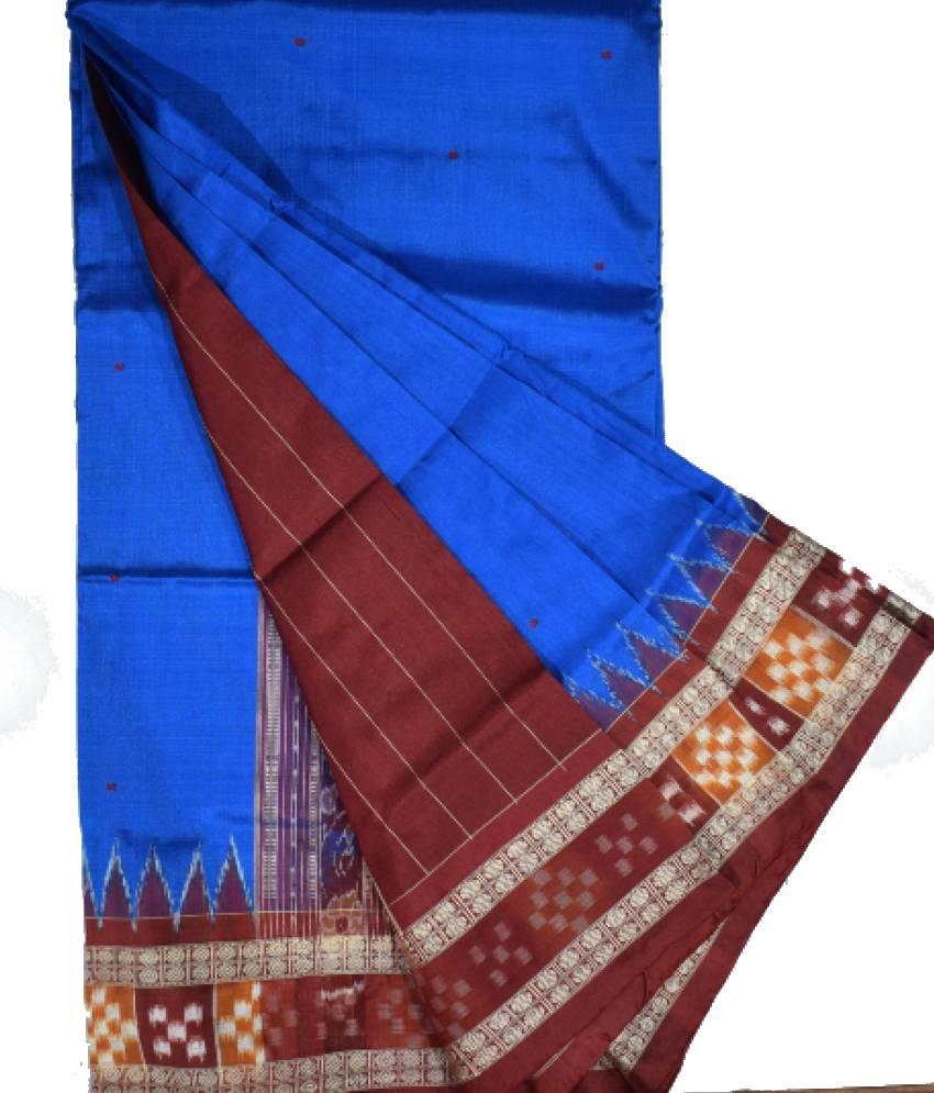 Blue Border pasapali Bomkai Silk Saree