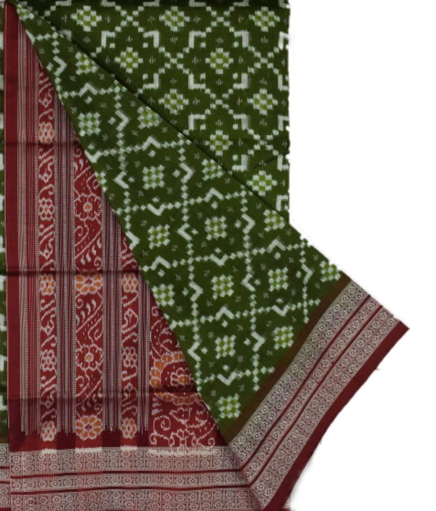 Green Pasapali designed Sambalpuri Silk Saree