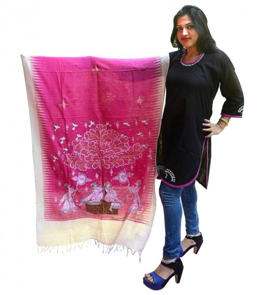 Pink Pattachitra Tussar Silk Dupatta