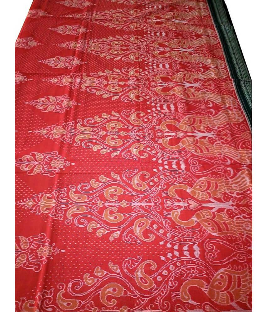 Red Peacock Sambalpuri Cotton Saree