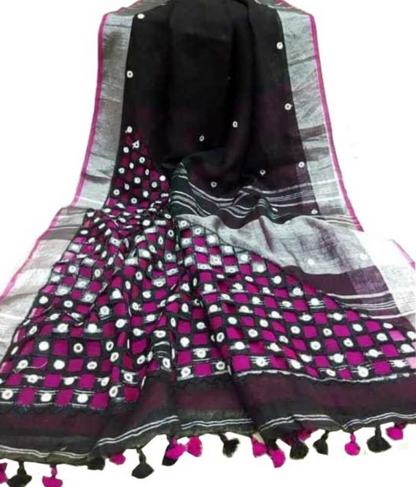 Black & Pink Cotton Silk Cut Work Saree