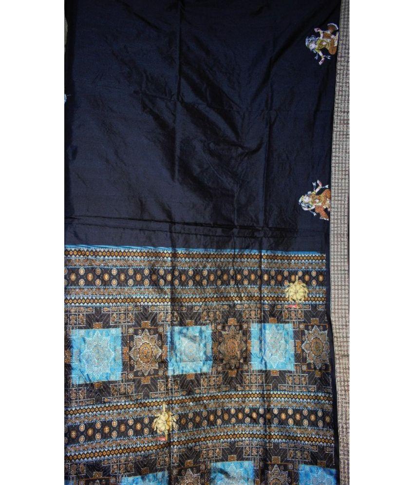 Sky pattachitra Handpainted Silk Saree