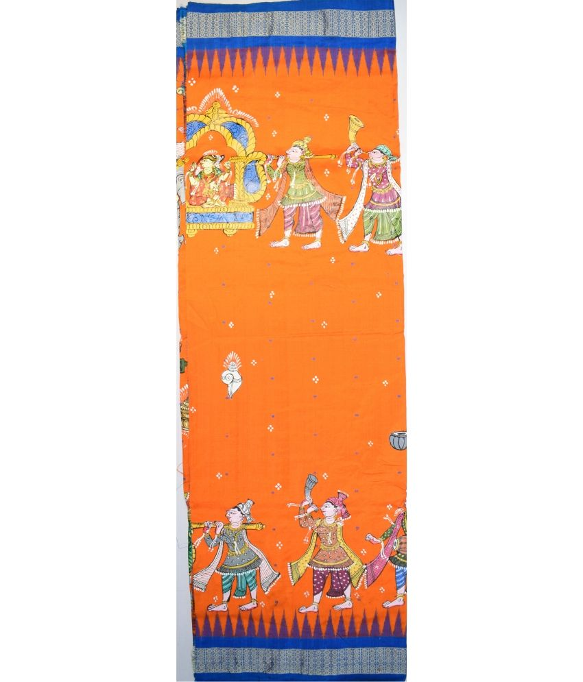 Orange Pattachitra Sambalpuri Silk Saree