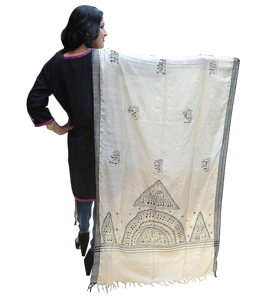 Pattachitra Handpainted Tribal Art Dupatta