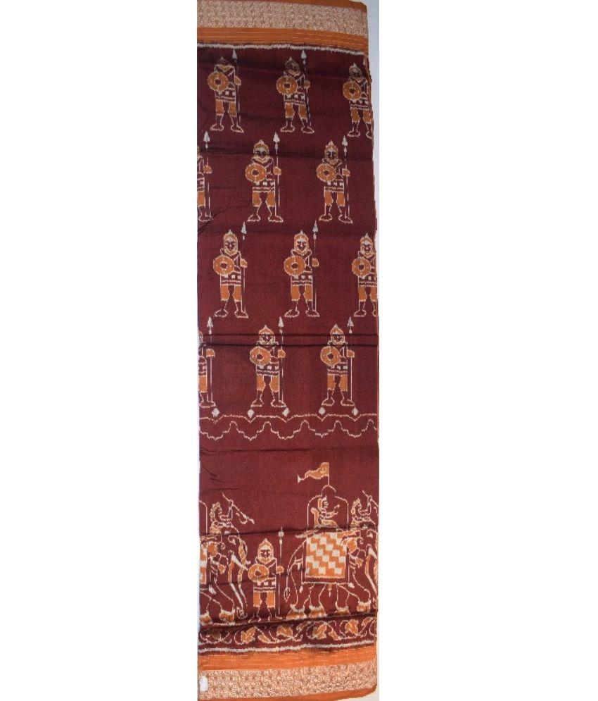 Maroon Sambalpuri Silk Saree
