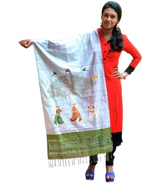 Traditional Hand Painted Dupatta
