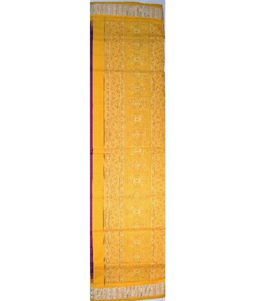 Yellow & Purple Patli Bomkai Silk Saree