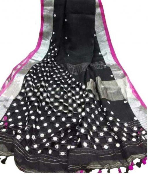 Black Cotton Silk Cut Work Saree