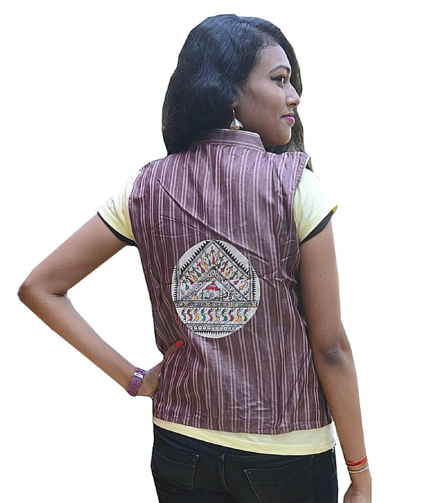 Brown Soura Hand painted Half jacket