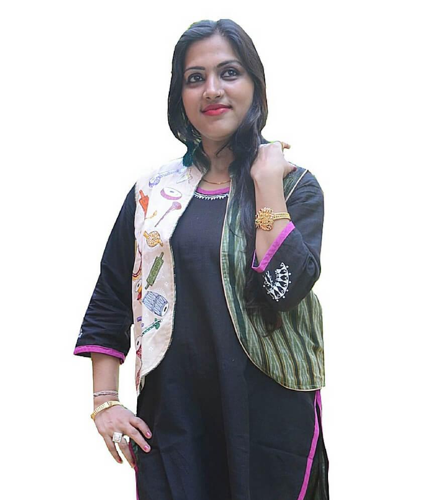 Ikat Pattachitra Painted Half Jacket