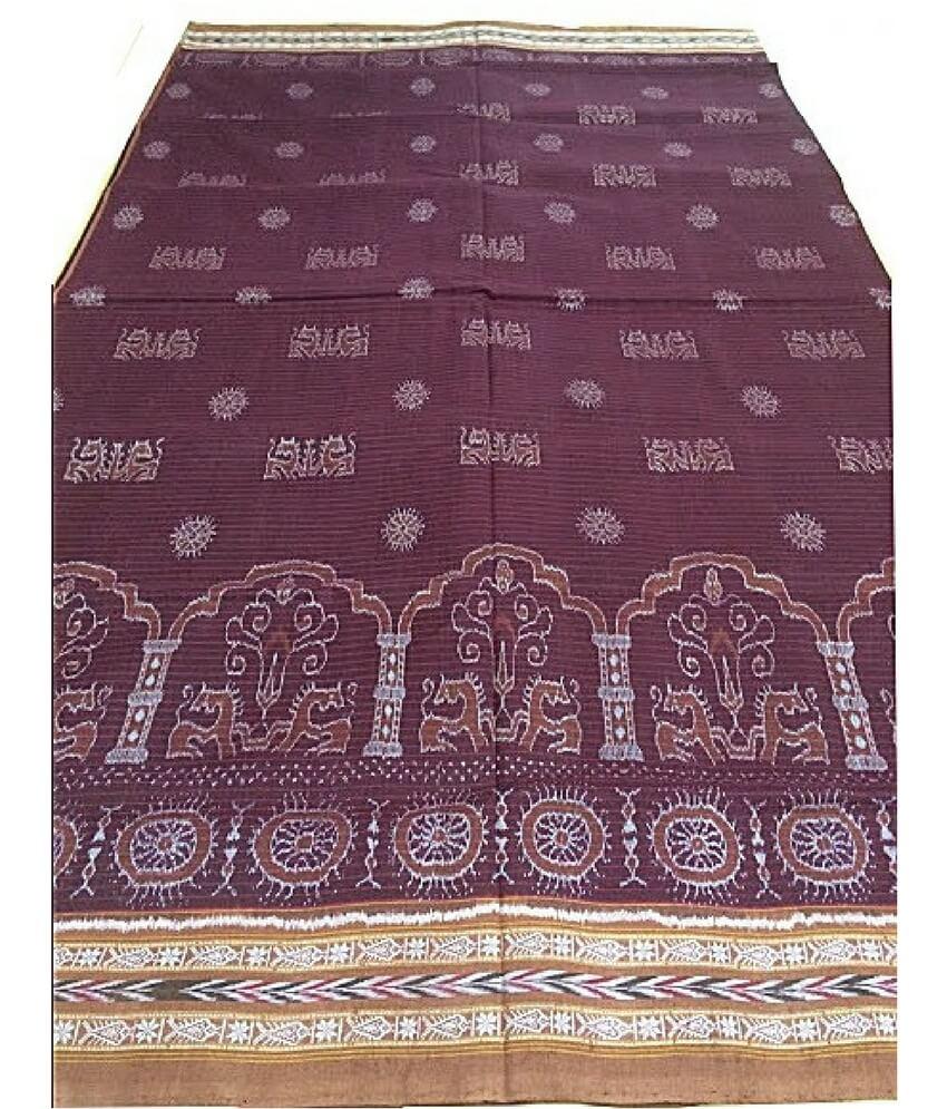 Maroon Sambalpuri Cotton Saree