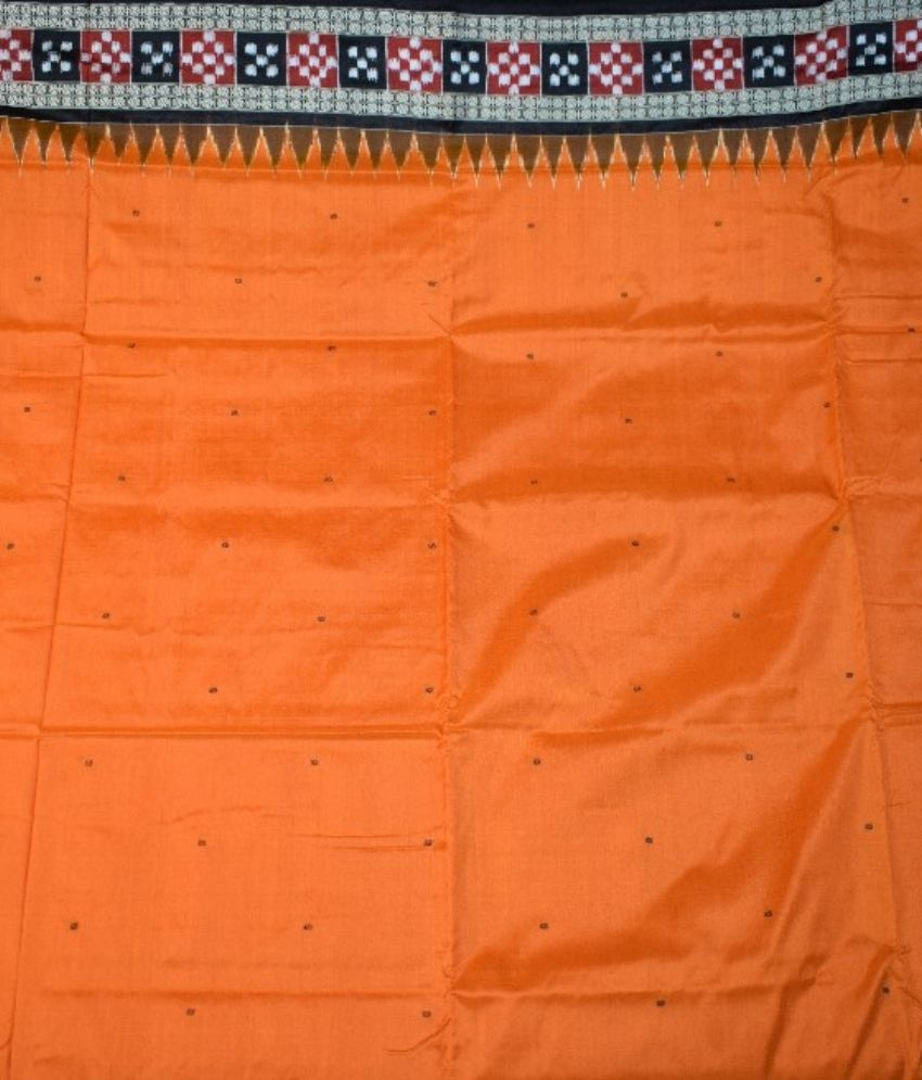Orange Bomkai Silk Saree