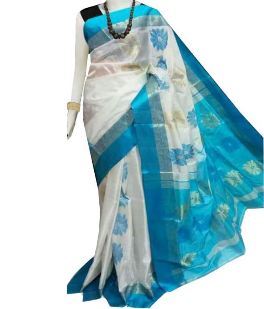 White & Sky Zari Tussar Silk Saree
