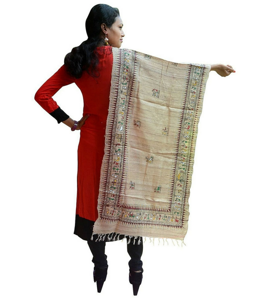 Soura Painted silk Pattachitra Dupatta