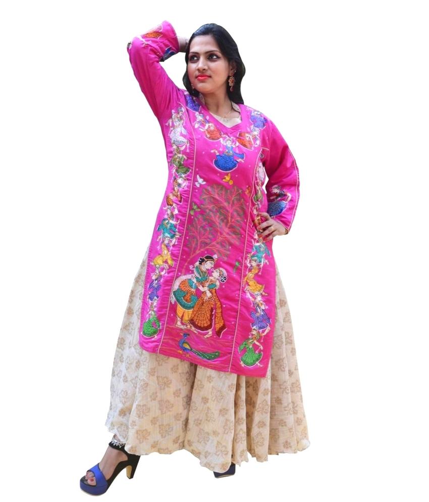 Pink Tussar Silk Pattachitra Painting Kurti
