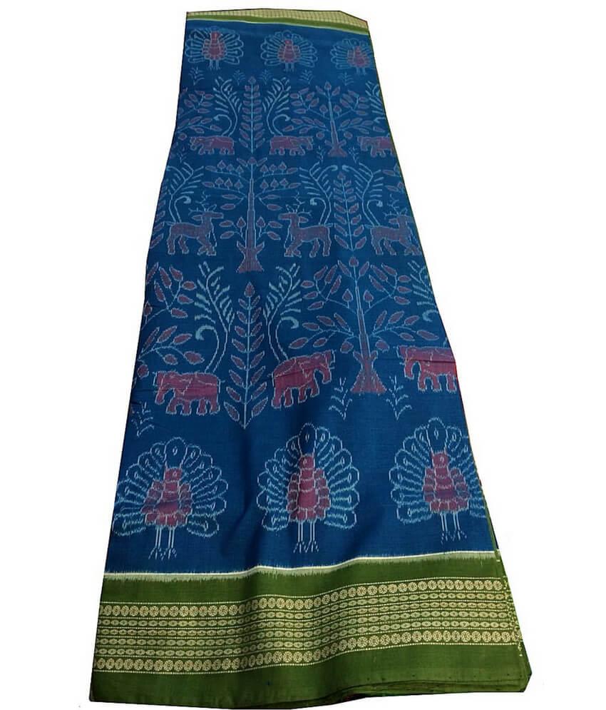 Blue animal pattern Sambalpuri Cotton Saree