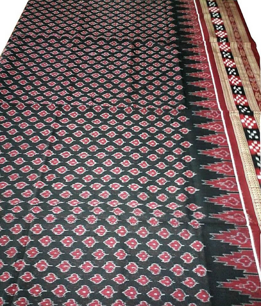 Traditional Black Sambalpuri Cotton Saree