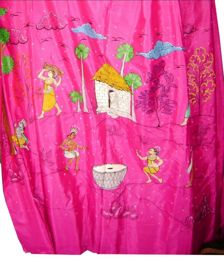 Village life Pattachitra paintings On A Silk Saree
