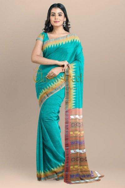 Ocean green Gopalpur tussar silk saree