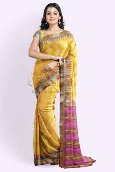 Yellow and pink Gopalpur tussar silk saree
